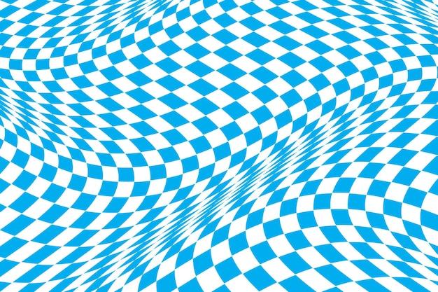 Fond damier déformé bleu plat