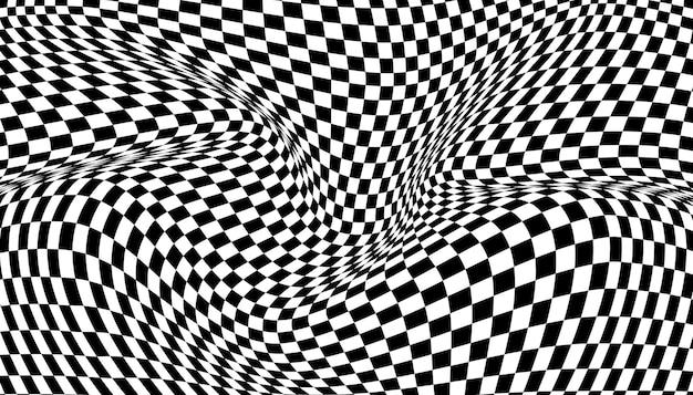 Fond damier déformé noir et blanc