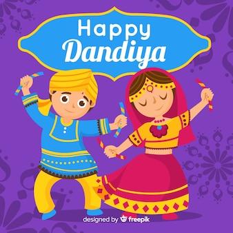 Fond de dandiya couple de danse