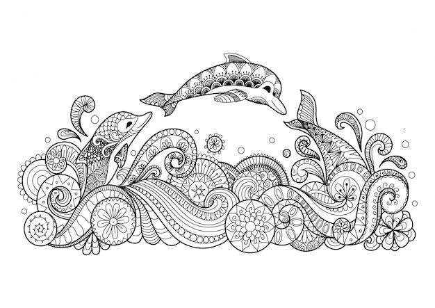 Fond de dauphins dessinés à la main