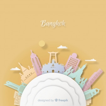Fond de Bangkok avec style art papier