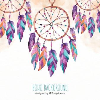 Fond de Boho avec des capteurs de rêve dans un style aquarelle