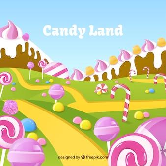 Fond de bonbons délicieux terrain dans un style plat