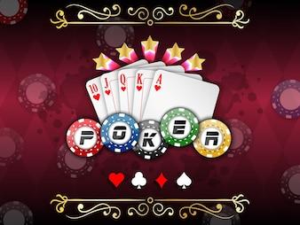 Fond de casino avec des cartes à jouer avec des jetons de poker