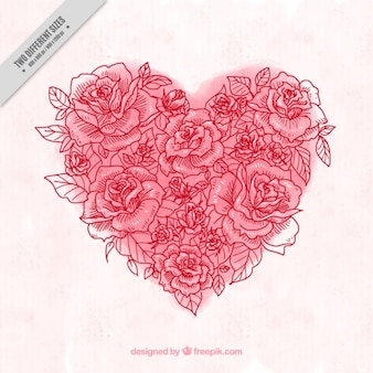 Fond de coeur d'aquarelle fait de croquis de rose