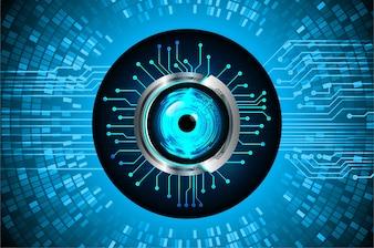 Fond de concept futur des yeux bleu cyber circuit technologie