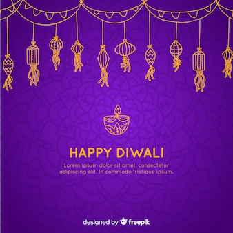 Fond de diwali dessiné main belle