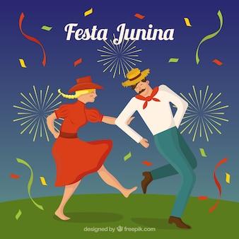 Fond de Festa junina avec couple de danse