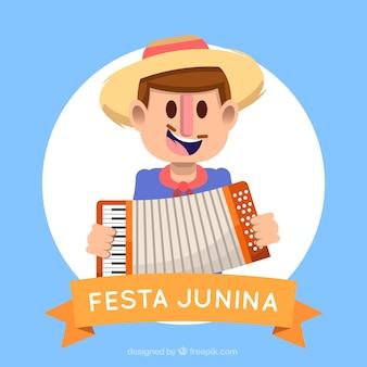 Fond de Festa junina avec un homme jouant de l'accordéon
