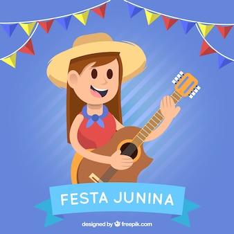 Fond de Festa junina avec une fille jouant de la guitare