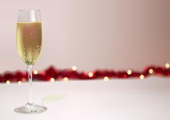 Fond de fête avec verre de champagne