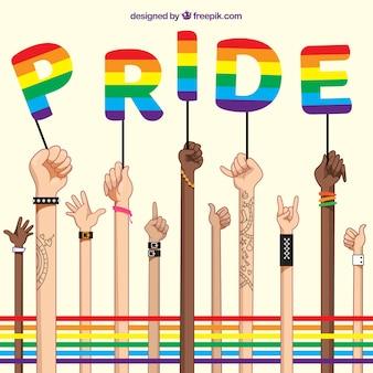 Fond de fierté LGBT avec de longs bras