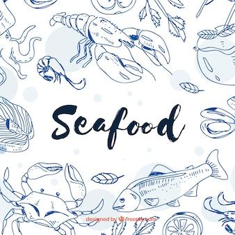 Fond de fruits de mer dessiné à la main