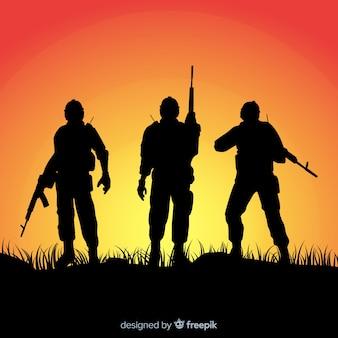 Fond de guerre avec des silhouettes de soldats