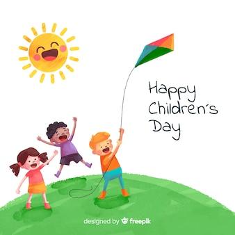 Fond de jour de l'aquarelle pour enfants