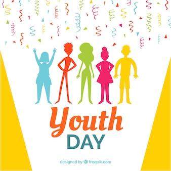 Fond de jour de la jeunesse avec la silhouette des gens