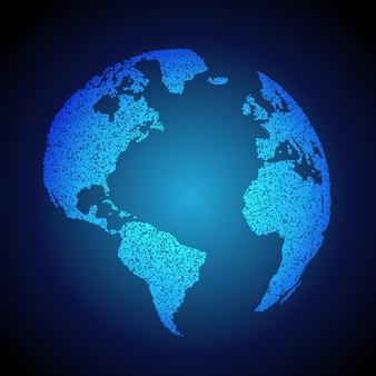 Fond de la terre bleue faite avec des points