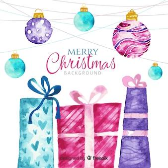 Fond de Noël aquarelle traditionnelle