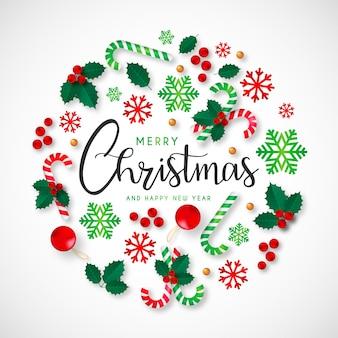 Fond de Noël avec de beaux ornements
