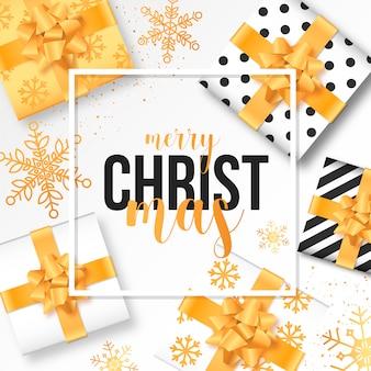 Fond de Noël moderne avec des cadeaux réalistes