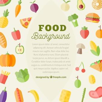 Fond de nourriture avec des légumes plats