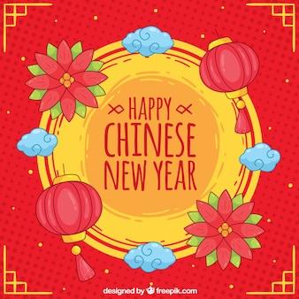 Fond de nouvel an chinois dessiné à la main