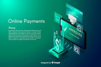 Fond de paiements en ligne isométrique
