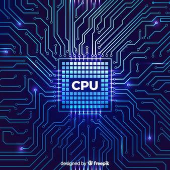 Fond de processeur moderne avec style linéaire