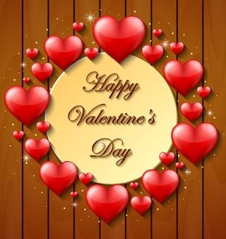 Fond de Saint Valentin sur la texture en bois