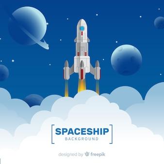 Fond de vaisseau spatial moderne au design plat