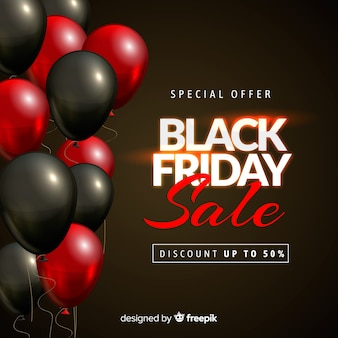 Fond de vente ballon noir vendredi en noir et rouge
