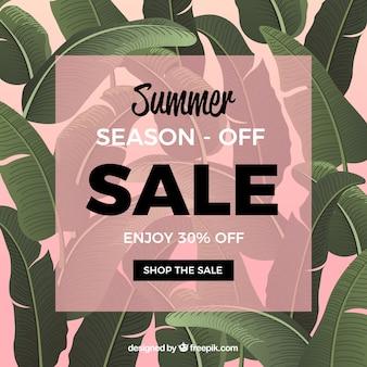 Fond de vente d'été avec des plantes