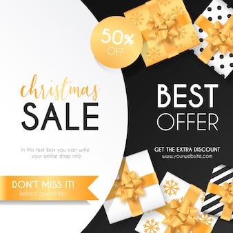Fond de vente de Noël avec des cadeaux élégants