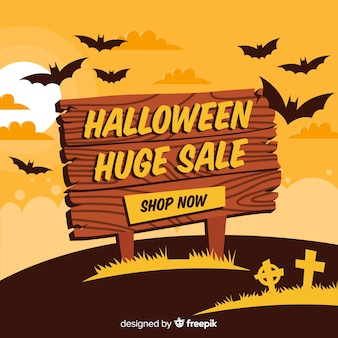 Fond de vente Halloween avec panneau en bois