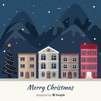 Fond de ville de Noël