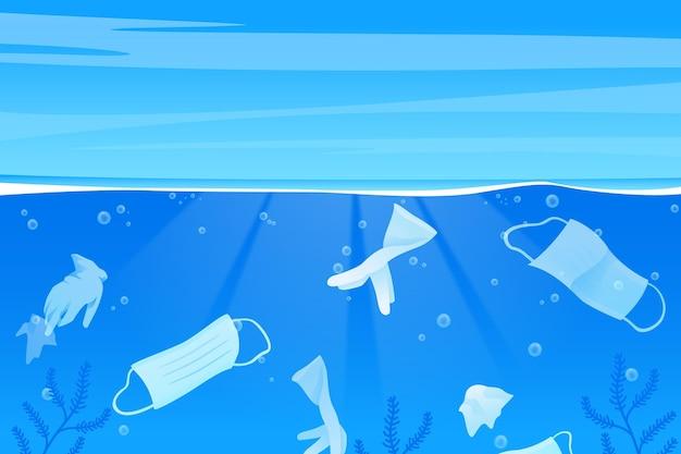 Fond de déchets océaniques de coronavirus