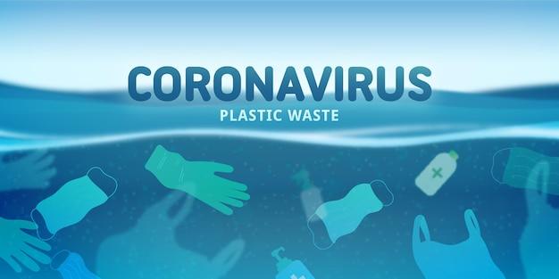 Fond de déchets plastiques coronavirus