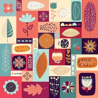 Fond décoratif automnal avec éléments saisonniers