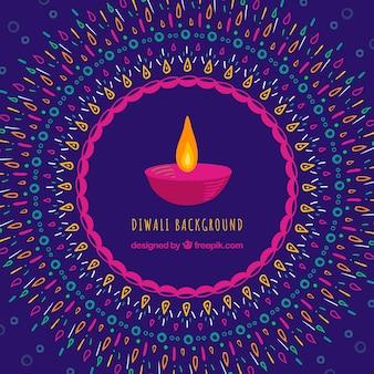 Fond décoratif avec bougie diwali