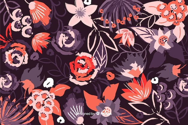 Fond décoratif coloré de fleurs peintes