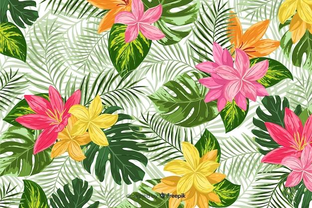 Fond décoratif coloré de fleurs tropicales