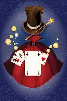 Fond décoratif décoratif de magicien avec baguette à cylindre et illustration vectorielle de cape