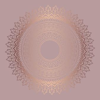 Fond décoratif avec un design de mandala en or rose
