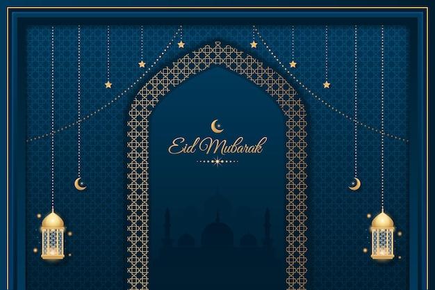 Fond décoratif eid mubarak avec mosquée et lanternes