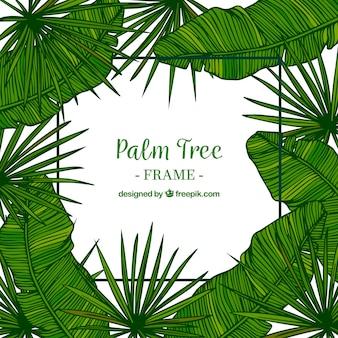 Fond décoratif de la feuille de palmier tirée à la main