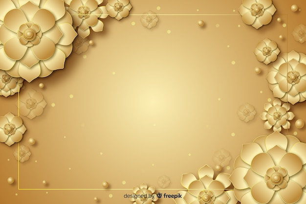 Fond décoratif de fleurs dorées 3d