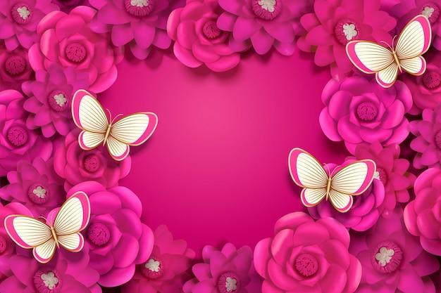 Fond décoratif de fleurs en papier fuchsia vif avec papillon