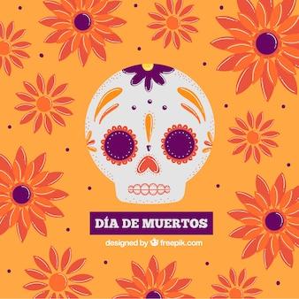 Fond décoratif floral avec crâne mexicain