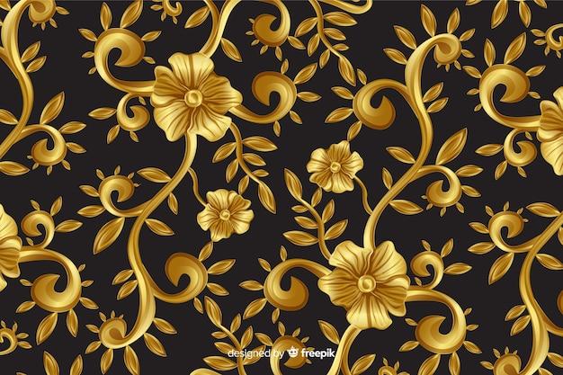 Fond décoratif floral ornement doré