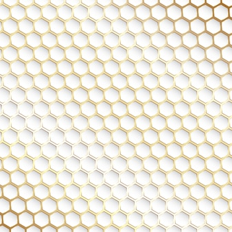 Fond décoratif hexagonal or et blanc
